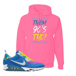Undefeated x Air Max 90 Pacific Blue Sneaker Neon Pink Pullover Hoodie | Hoodie to match Undefeated x Nike Air Max 90 Pacific Blue Shoes | Them 90's Tho