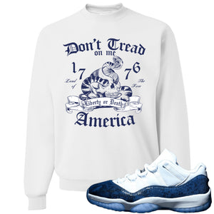 Jordan 11 Low Blue Snakeskin Don't Tread On Me Snake White Crewneck Sweater