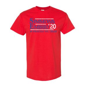 Simmons & Embiid 2020 T-Shirt | Ben Simmons & Joel Embiid 2020 Red T-Shirt the front of this shirt has the simmons embiid 2020 logo
