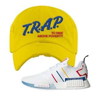 NMD R1 Olympic Pack Distressed Dad Hat | Yellow, Trap To Rise Above Poverty