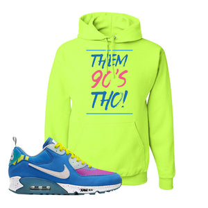 Undefeated x Air Max 90 Pacific Blue Sneaker Safety Green Pullover Hoodie | Hoodie to match Undefeated x Nike Air Max 90 Pacific Blue Shoes | Them 90's Tho