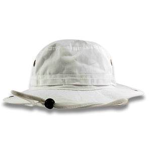 The white boonie bucket hat is solid white with a white adjustable draw string