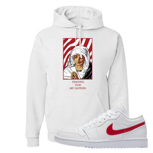 Air Jordan 1 Low White and Varsity Red Hoodie | God Told Me, White
