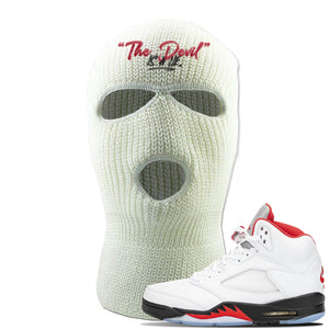 Air Jordan 5 OG Fire Red Ski Mask | White, Devil Is A Lie