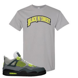 Jordan 4 Neon Sneaker Gravel T Shirt | Tees to match Nike Air Jordan 4 Neon Shoes | Black N Sweet Arch