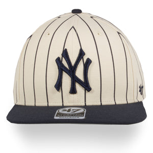 New York Yankees Cream / Navy Blue Pinstripe Snapback Hat