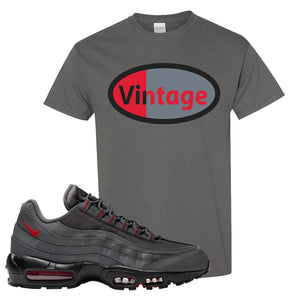 Air Max 95 Dark Gray and Red T Shirt | Vintage Oval, Charcoal