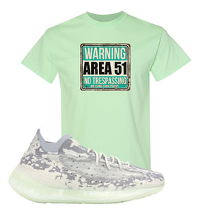 Yeezy 380 Alien T Shirt | Mint Green, Area 51 Sign