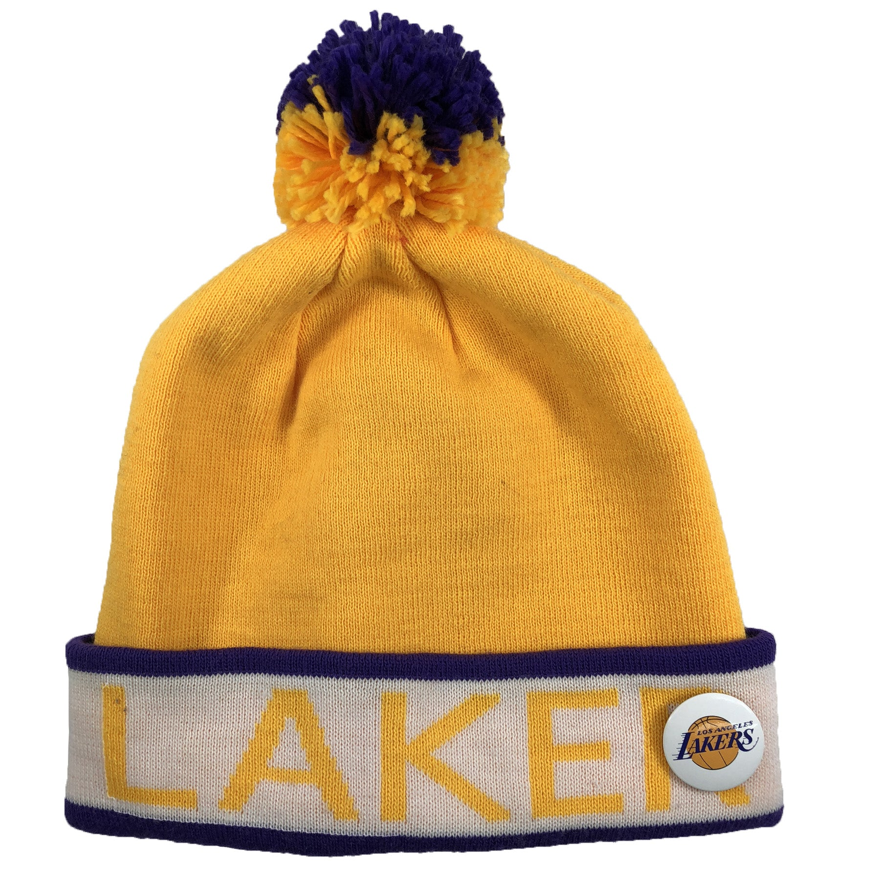 the los angeles lakers mitchell and ness winter beanie has a lakers  lettering in yellow with 4f24995f50d3