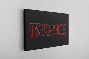 Iverson Canvas | Allen Iv3rson Black Wall Art this iv3rson canvas has Allen Iverson's last name on it with the number 3 replacing the letter E in his name