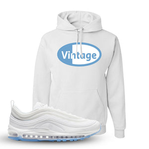 Air Max 97 White/Ice Blue/White Sneaker White Pullover Hoodie | Hoodie to match Nike Air Max 97 White/Ice Blue/White Shoes | Vintage Oval
