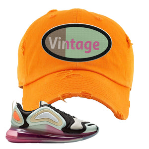 Air Max 720 WMNS Black Fossil Sneaker Orange Distressed Dad Hat | Hat to match Nike Air Max 720 WMNS Black Fossil Shoes | Vintage Oval