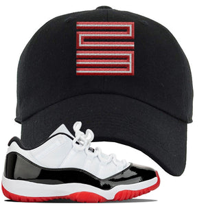 Jordan 11 Low White Black Red Sneaker Black Dad Hat | Hat to match Nike Air Jordan 11 Low White Black Red Shoes | Jordan 11 23