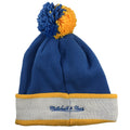 on the back of the mitchell and ness UCLA bruins knit beanie is the Mitchell and Ness script logo embroidered in blue