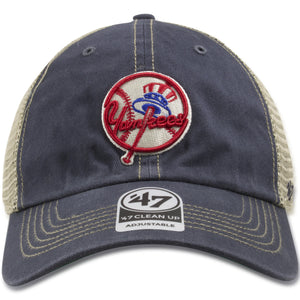 New York Yankees Vintage Washed Navy Blue / Khaki Trucker Hat