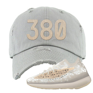 Yeezy Boost 380 'Pepper' Distressed Dad Hat | Light Gray, 380