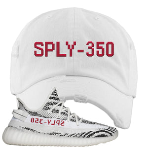 Yeezy Boost 350 V2 Zebra Sply-350 White Sneaker Hook Up Distressed Dad Hat