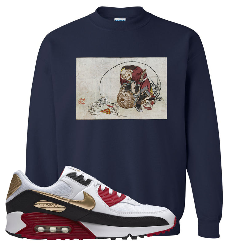 Air Max 90 Chinese New Year Crewneck Sweatshirt | Navy Blue, Japanese Rat Party