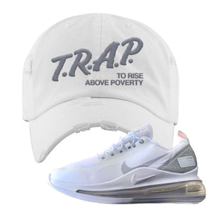 Air Max 720 Utility White Distressed Dad Hat | White, Trap To Rise Above Poverty