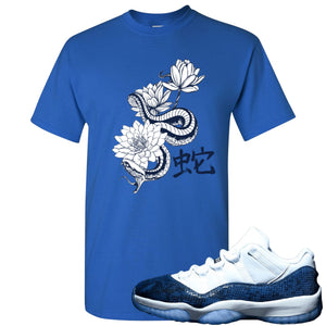 Jordan 11 Low Blue Snakeskin Snake With Lotus Flowers Royal Blue T-Shirt