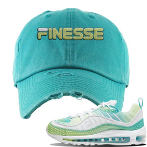 WMNS Air Max 98 Bubble Pack Sneaker Turquoise Distressed Dad Hat | Hat to match Nike WMNS Air Max 98 Bubble Pack Shoes | Finesse