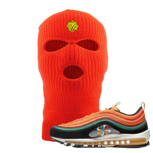 Embroidered on the front of the Air Max 97 Sunburst sneaker matching safety orange ski mask is the vintage lion head logo