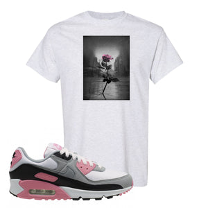 WMNS Air Max 90 Rose Pink Concrete Rose Ash T-Shirt To Match Sneakers
