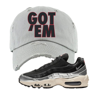 3M x Nike Air Max 95 Silver and Black Distressed Dad Hat | Got Em, Light Gray