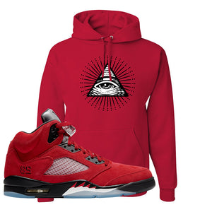Air Jordan 5 Raging Bull Hoodie | All Seeing Eye, Red