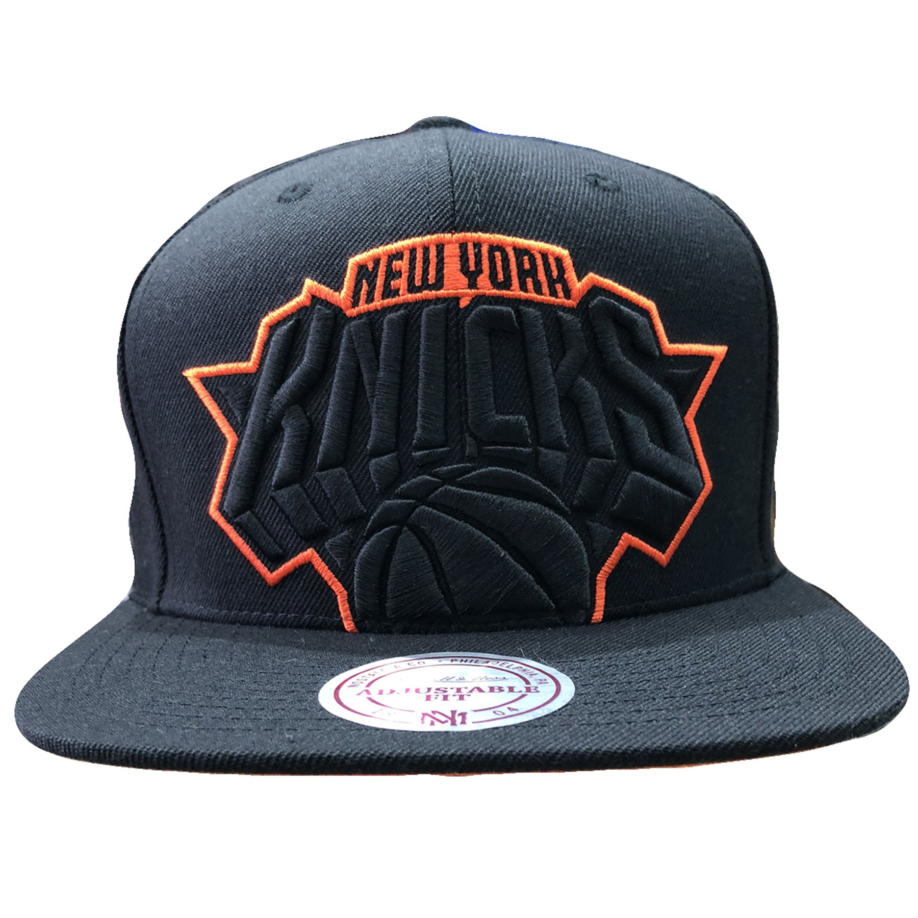 5680fe0592e17 Embroidered on the front of the new york knicks black snapback hat is a  knicks logo