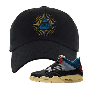 Union LA x Air Jordan 4 Off Noir Dad hat | All Seeing Eye, Black