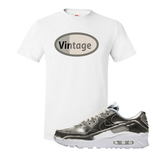 Air Max 90 WMNS 'Medal Pack' Chrome Sneaker White T Shirt | Tees to match Nike Air Max 90 WMNS 'Medal Pack' Chrome Shoes | Vintage Oval