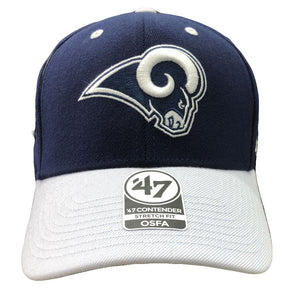 Embroidered on the front of the Los Angeles Rams stretch fit cap is the Los Angeles Rams logo in navy blue and white