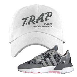 WMNS Nite Jogger True Pink Camo Dad Hat | White, Trap to Rise Above Poverty