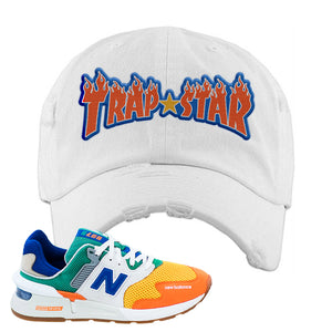 997S Multicolor Sneaker White Distressed Dad Hat | Hat to match New Balance 997S Multicolor Shoes | Trap Star