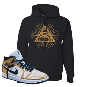Air Jordan 1 Mid SE Metallic Gold Hoodie | All Seeing Eye, Black