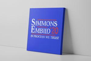 Simmons & Embiid 2020 Canvas | Ben Simmons & Joel Embiid 2020 Royal Blue Wall Canvas the front of this canvas has the simmons embiid 2020 logo