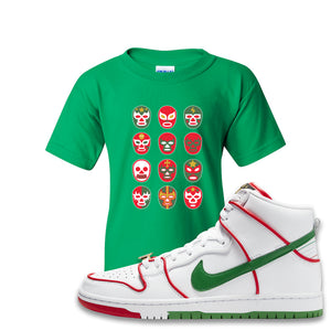 Paul Rodriguez's Nike SB Dunk High Sneaker Green Kid's T-Shirt | Kid's Tee to match Paul Rodriguez's Nike SB Dunk High Shoes | Luchador Masks