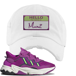 Ozweego Vivid Pink Sneaker White Distressed Dad Hat | Hat to match Adidas Ozweego Vivid Pink Shoes | Hello my Name is Mami