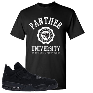 Air Jordan 4 Black Cat Panther University Black Made to Match T-Shirt
