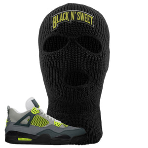 Jordan 4 Neon Sneaker Black Distressed Dad Hat | Hat to match Nike Air Jordan 4 Neon Shoes | Black N Sweet Arch