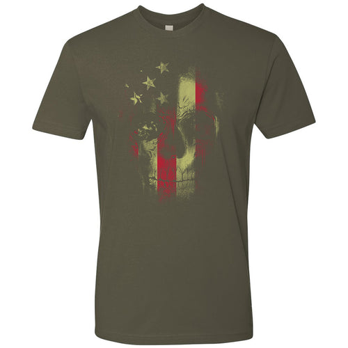 Standard Issue Distressed Reaper Skull American Flag Military Green Grunt Life T-Shirt
