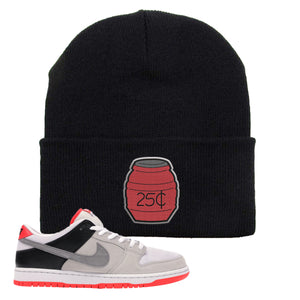 Nike SB Dunk Low Infrared Orange Label Quarter Water Black Beanie To Match Sneakers