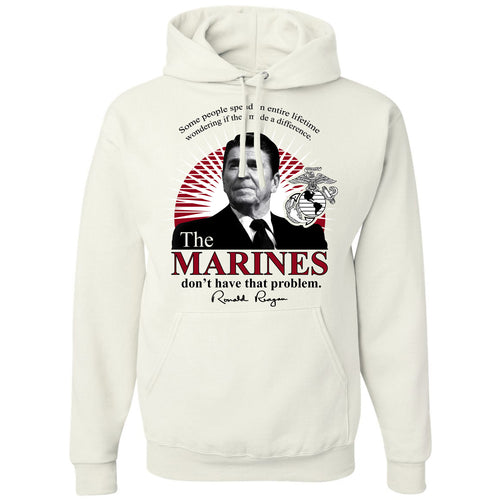 Standard Issue The Marines Featuring Ronald Reagan White Pullover Grunt Life Hoodie