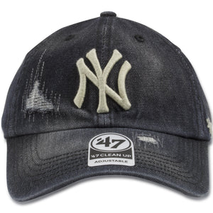 New York Yankees Vintage Rugged Washed Black Dad Hat