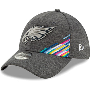front of Eagles breast cancer awareness flex fit hat | Philadelphia Eagles Crucial Catch  39thirty sideline flexfit cap