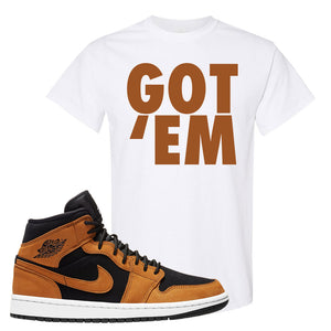 Air Jordan 1 Mid Wheat T Shirt | Got Em, White