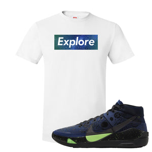 KD 13 Planet of Hoops T Shirt | Explore Box Logo, White