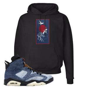 Jordan 6 Washed Denim Hoodie | Black, Crane Sun