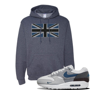 Air Max 1 'London City Pack' Sneaker Vintage Heather Navy Pullover Hoodie | Hoodie to match Nike Air Max 1 'London City Pack' Shoes | Union Jack Flag